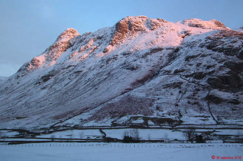 03 - Early Morning Sun on Pike of Stickle and Loft Crag. (Taken from Stool End Farm).jpg