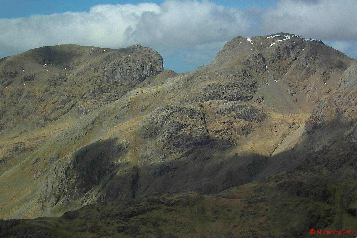 003 Scafell Pike, Mickledore, and Scafell from Bowfell Summit.jpg