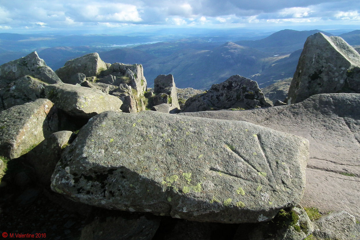 19 Ordnance Survey Datum Arrow on boulder at Bowfell summit.jpg